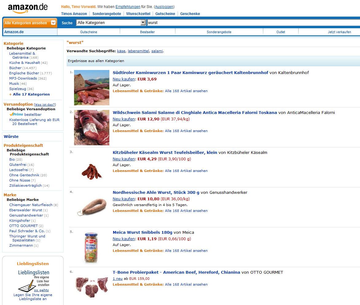 Wurst auf Amazon